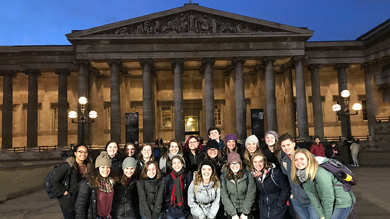 Group of students standing in front of the British Museum.