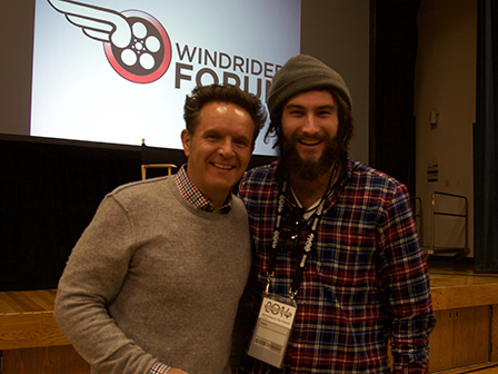 Producer Mark Burnett (Survivor, The Apprentice, Shark Tank, Son of God) poses with a Taylor film student.