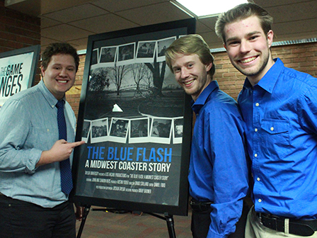 "Filmmakers Austin Yoder, David Stallard and Daniel Ford at the documentary premier of ""The Blue Flash."""