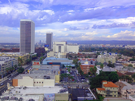 The view from the Los Angeles Film Studies Center, housed in the Wilshire/Miracle Mile section of Los Angeles.